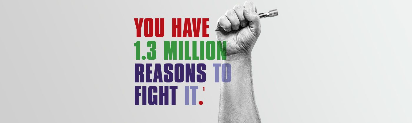 You have 1.3 million reasons to fight tb, graphic